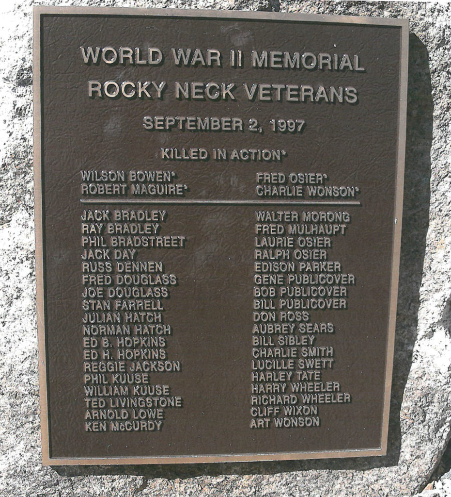 World War II Memorial, Rocky Neck