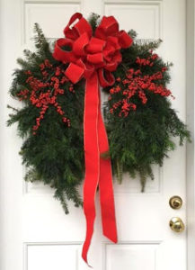 A holiday wreath is just one of the many handmade items featured at the Annisquam Christmas Fair.