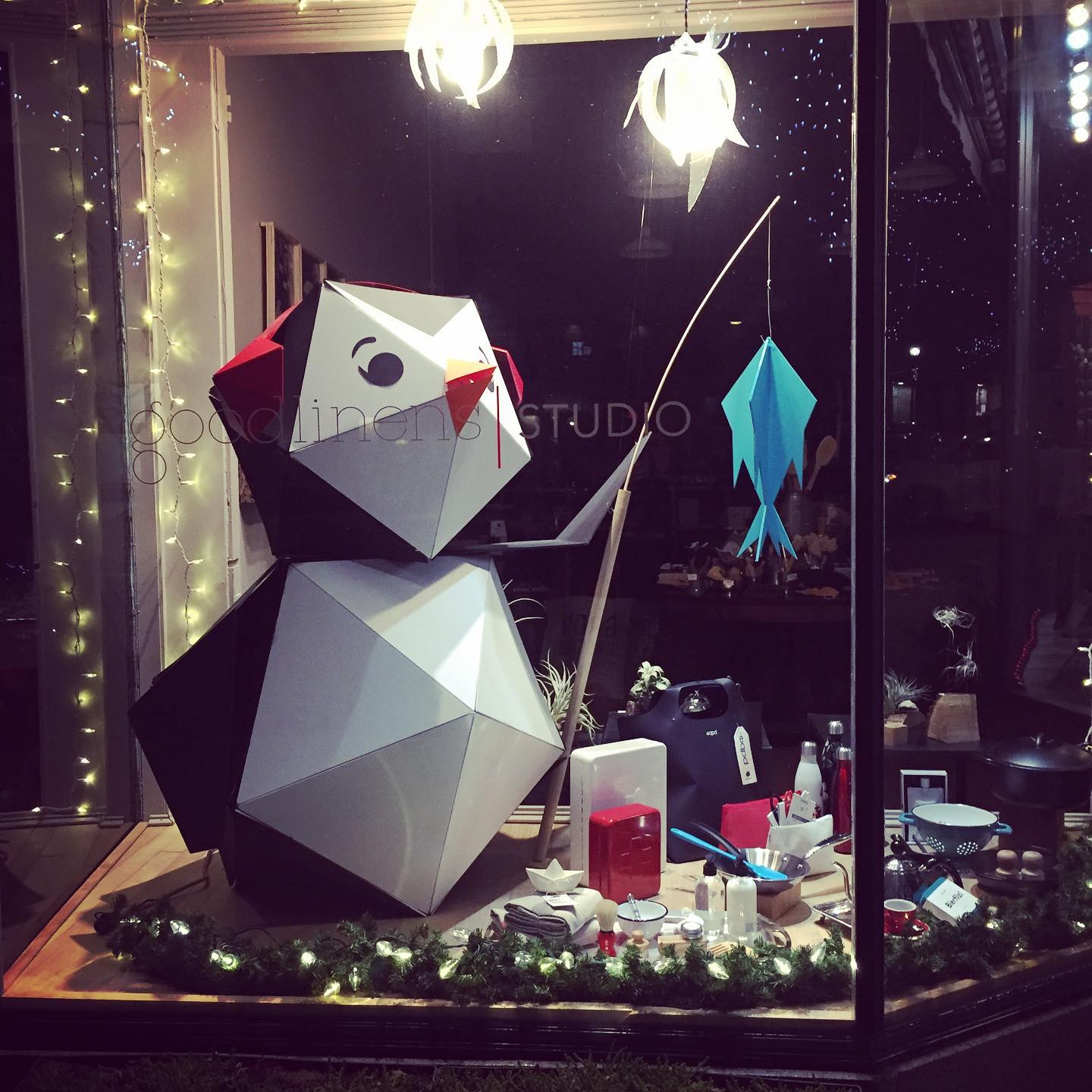 goodlinens studio window display in the Downtown Gloucester Holiday Window Contest