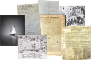 A montage of historical documents featured in the Cape Ann Museum's Archives Illuminated