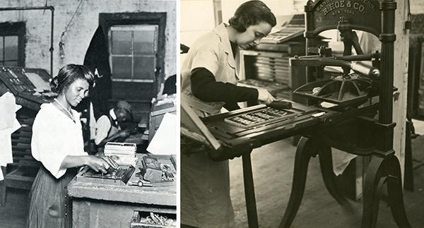 Photographs of two women print making.
